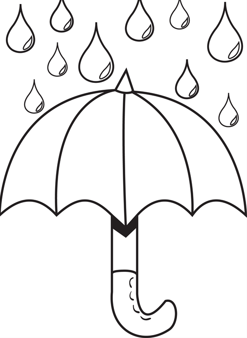 Umbrella Day Coloring Pages With Raindrops