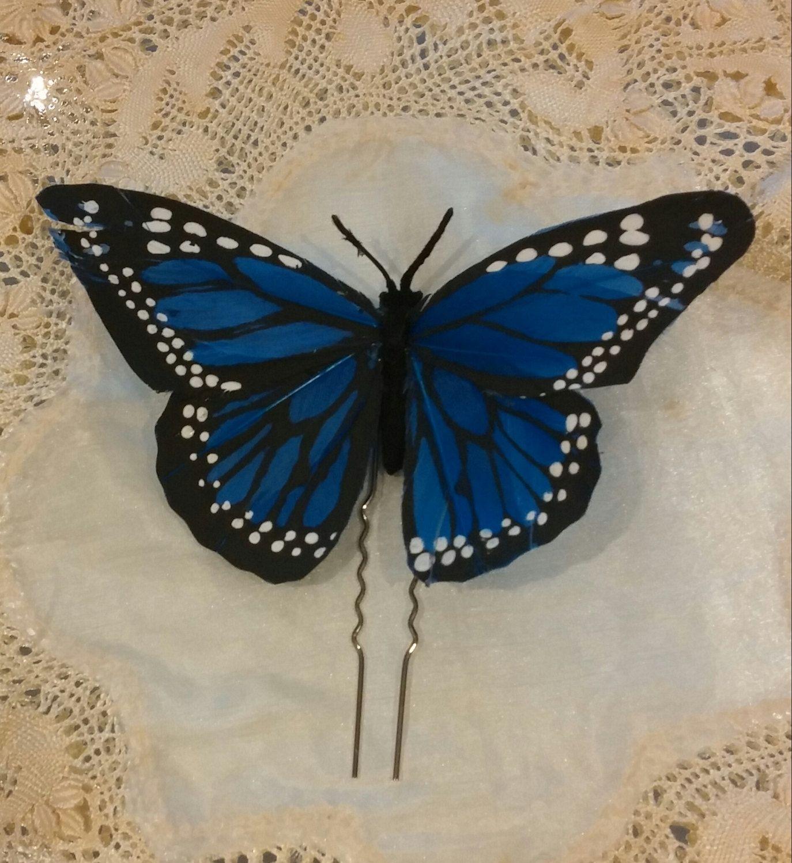 Pin mariposa de plumas azul para el pelo de SevillaClass en Etsy