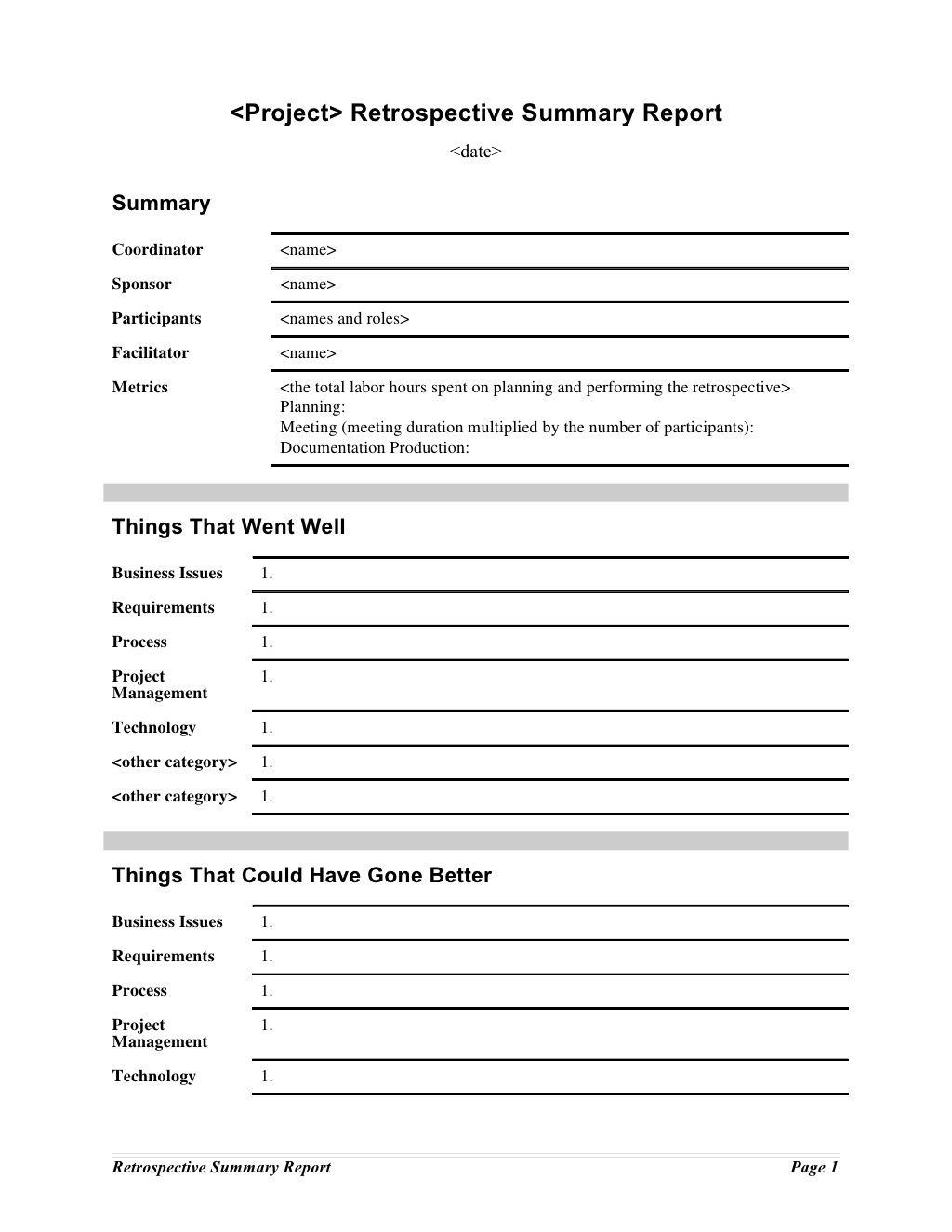 retrospective summary report summary  u2026