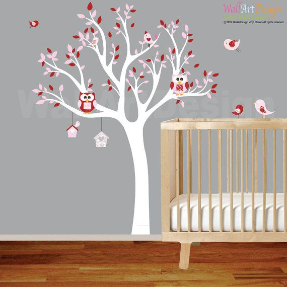 Vinyl wall decal wall sticker tree with birdhouses,owls and,birds