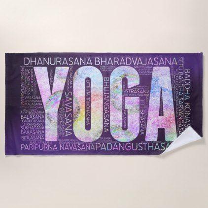 yoga asanas word art on purple beach towel
