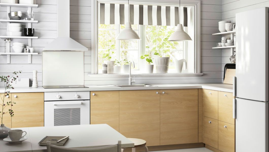 Kitchen With HAGANÄS Birch Drawer Fronts And Drawers