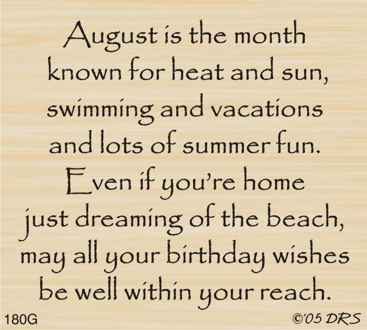Elegant August Birthday Greeting   180G