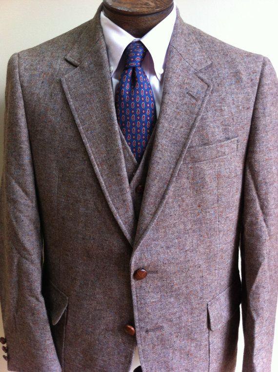 40R Three Piece Tweed Suit Narrow Lapel 40 R by StLouisIvy on Etsy, $129.00