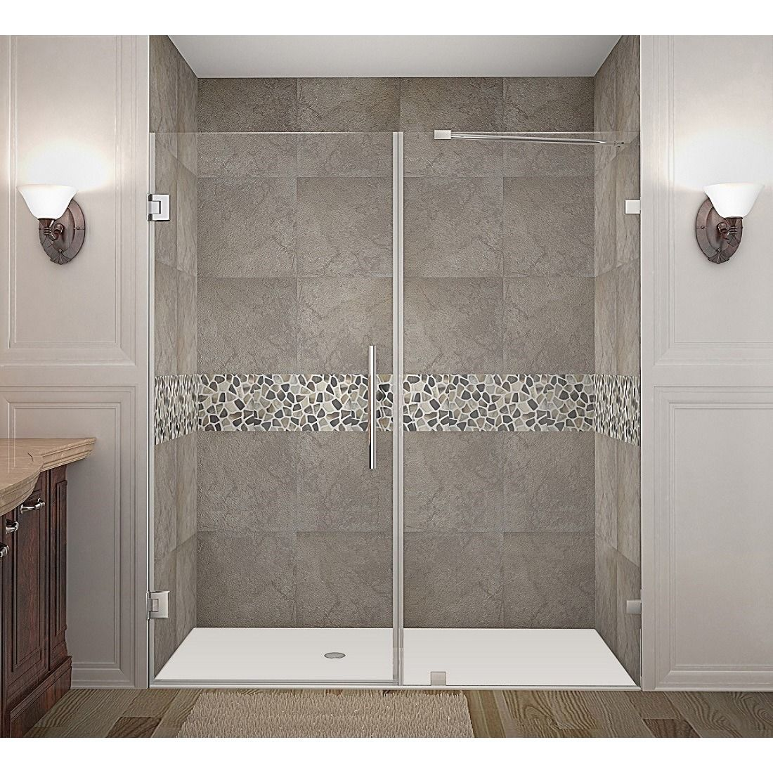 Aston Nautis 70 X 72 Inch Completely Frameless Hinged Shower Door Stainless Steel Silver Fi Shower Doors Frameless Hinged Shower Door Frameless Shower Doors