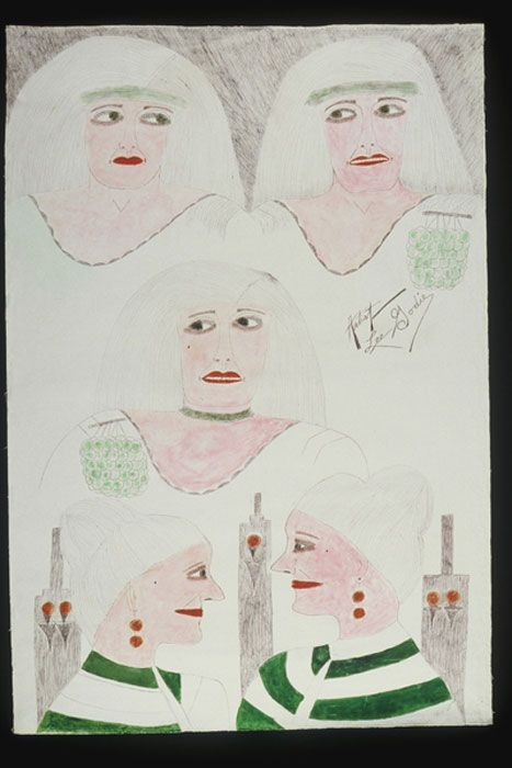 Lee Godie / Untitled (Five Figures), / n.d. / pen, pencil, and watercolor on canvas