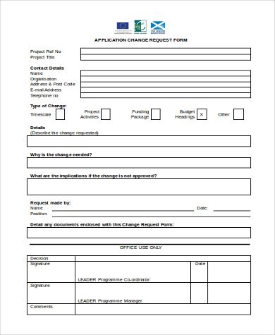 10+ Change Request formats Word, Excel  PDF Templates www