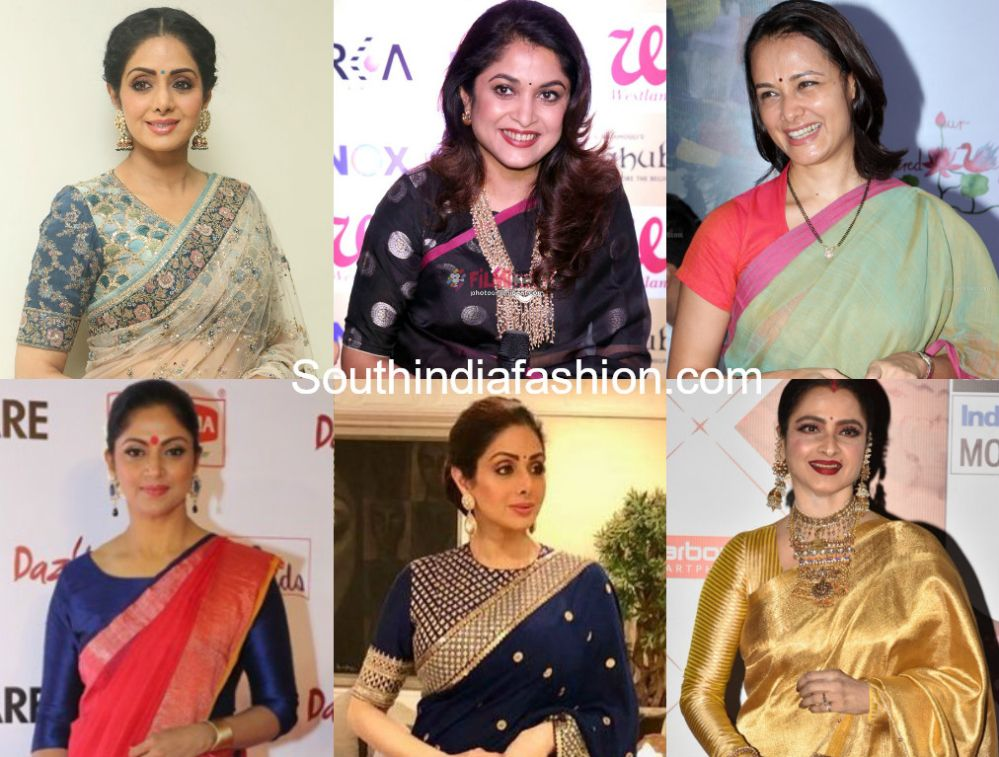 c95a718040b0e Women in their 40 s are flaunting the saree looks with all grace and style.  This article is for the middle aged women who love to flaunt stylish  different ...