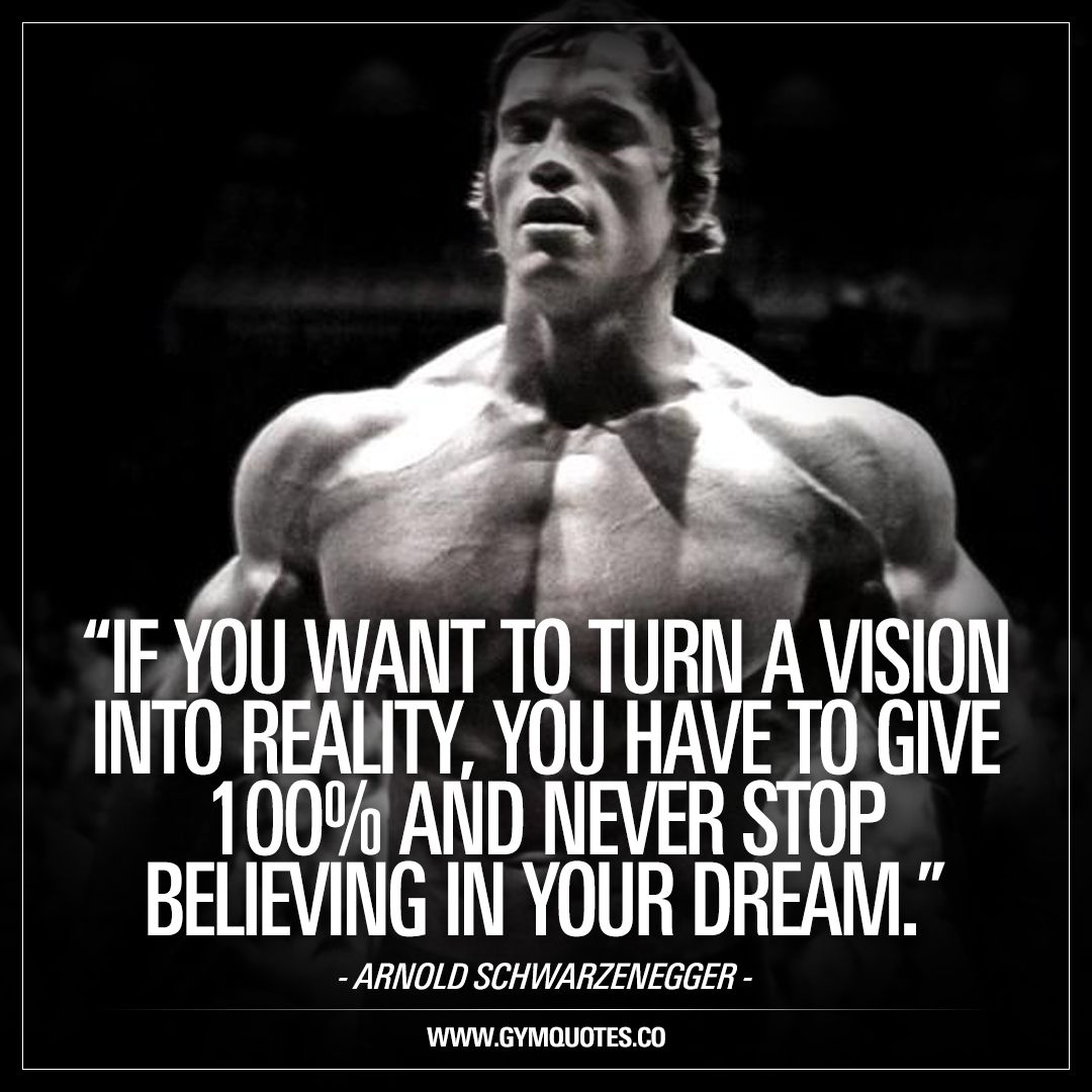 Arnold Schwarzenegger Quotes If You Want To Turn A Vision Into Reality You Have To Give 100% And