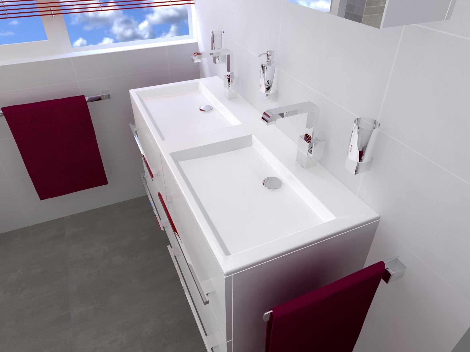 badkamermeubel met strakke dubbele wastafel badkamers