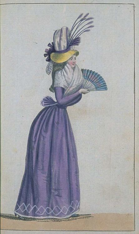 Journal de la Mode et du Gout, May 1790. Another lovely purple gown! Check out those odd feathers on her bonnet- very unusual!