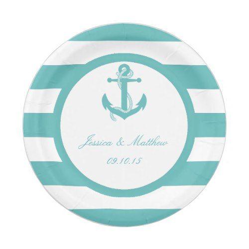 Nautical Turquoise Stripe Anchor Wedding Paper Plate  sc 1 st  Pinterest & Nautical Turquoise Stripe Anchor Wedding Paper Plate | Wedding paper ...