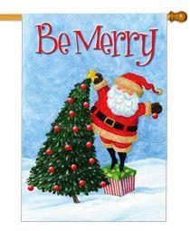 "Tip Toe Santa Christmas House Banner Flag, Size 28"""" x 40"""""