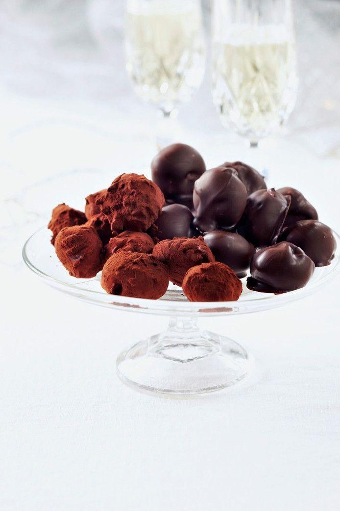 Vadelmaiset suklaatryffelit   K-ruoka #joulu