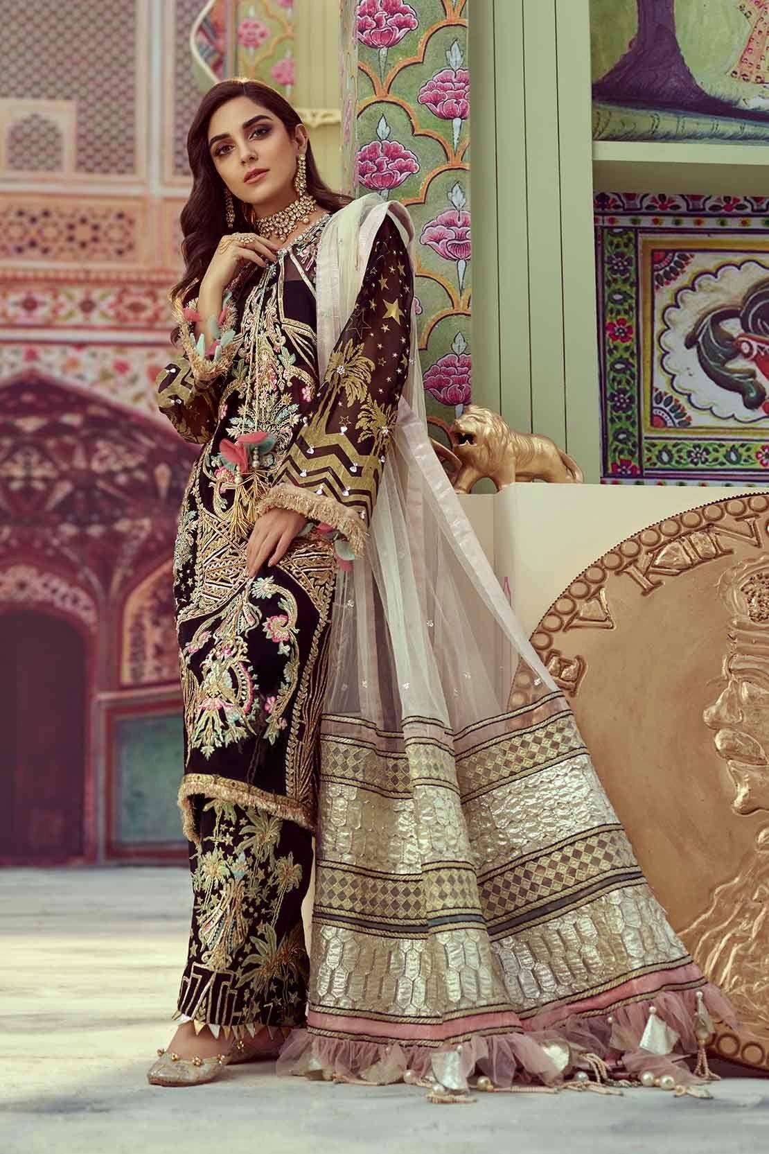 Black wedding dress by crimson model c 1786 pakistani