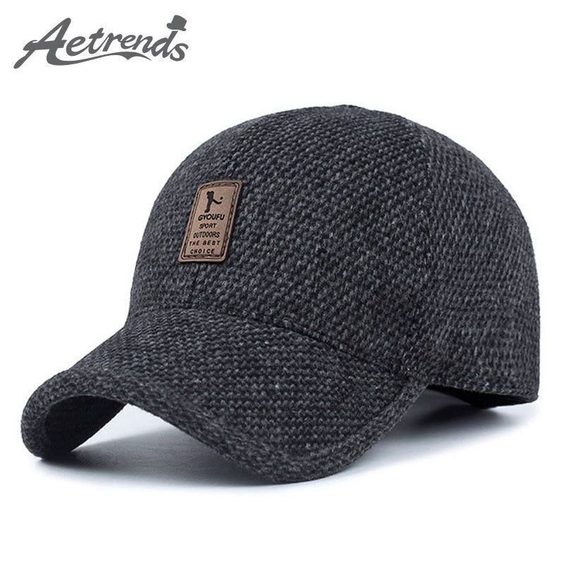 444d191314294 Woolen Knitted Design Winter Baseball Cap Men Thicken Warm Hats with Ear  flaps