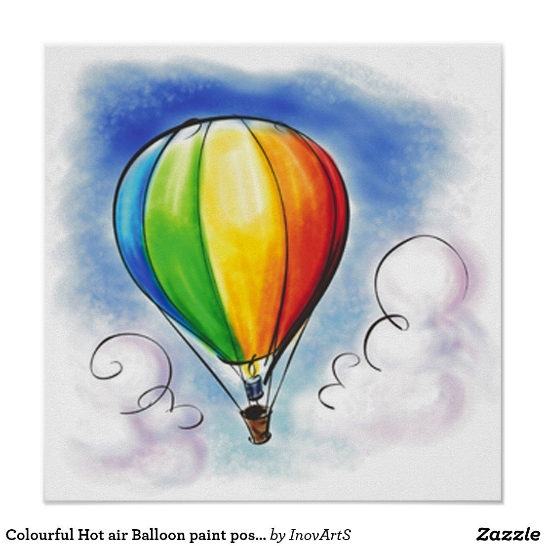 Colourful Hot air Balloon paint poster | Zazzle.com