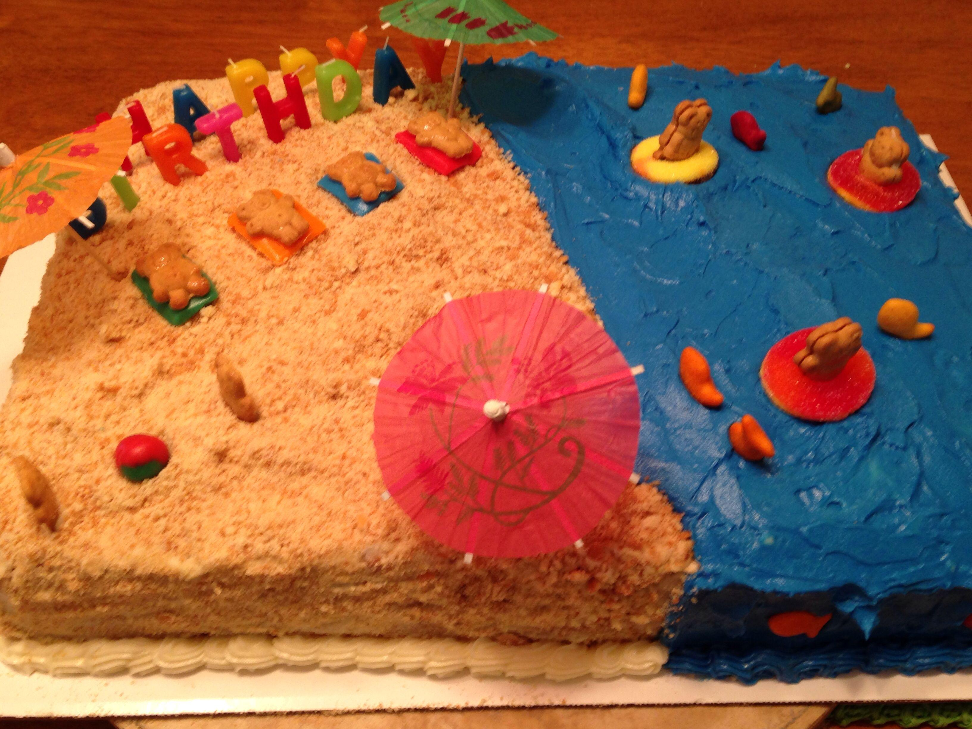 Beach cake.....teddy graham cookies, air heads & rainbow