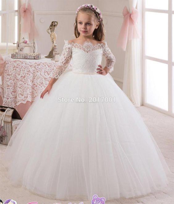 ... dress tutu mesh clothing. Hot Princess Off the Shoulder Three Quarter  Sleeves. Resultado de imagen para vestidos elegantes largos PARA NIÑA DE 10  AÑOS 1c52bf05e346