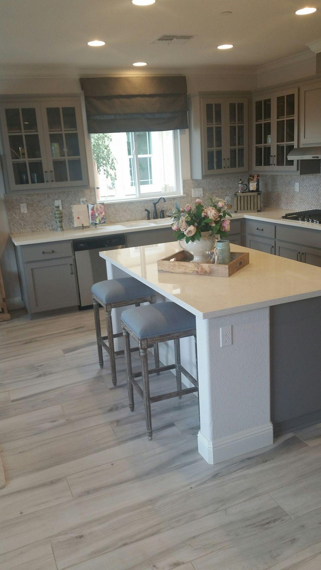 50 Stylish Gray And White Kitchen Ideas 24 Kitchen Cabinet Remodel Farmhouse Kitchen Cabinets Kitchen Floor Tile