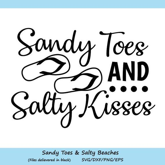 Beach Clipart Design Summer Quote SVG Summer SVG Inspirational Summer Quote Sandy Salty Happy Svg File For Cricut Silhouette Cameo PNG