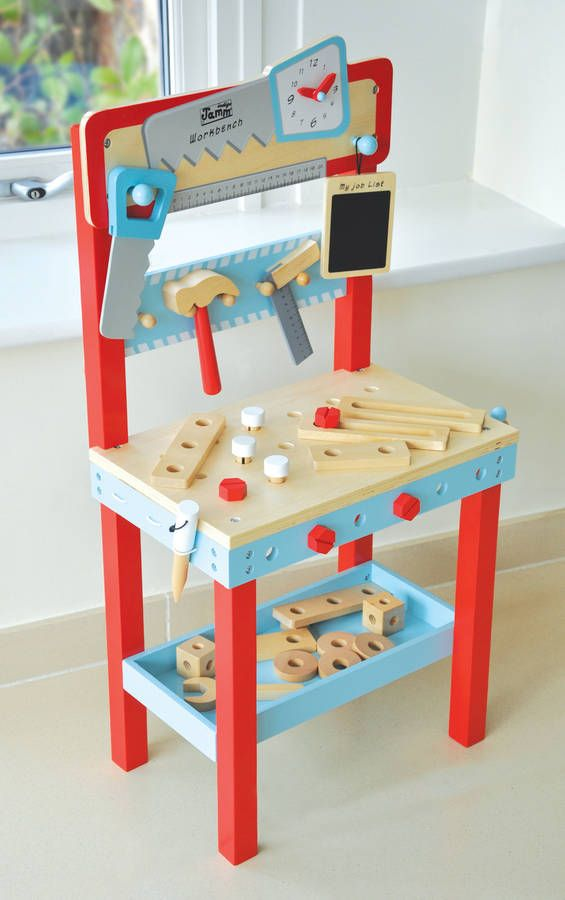 Pretend Play Workbench With Tools And 25 Accessories Kids Workbench Toddler Workbench Workbench