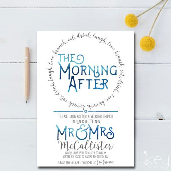 The Morning After Wedding Brunch Invitation Fun Doesnt