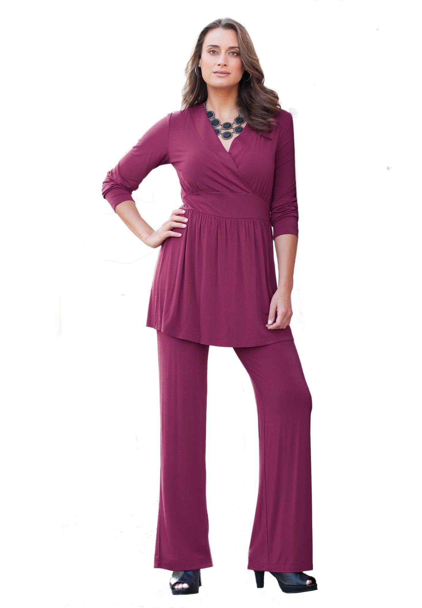 Plus Size Tunic Pant Set | Plus Size Pant Suits | Jessica ...