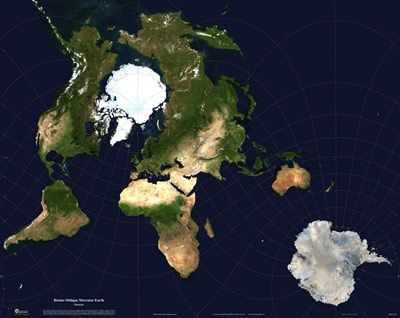 Interesting Projection World Satellite Image Map Physical Hotine