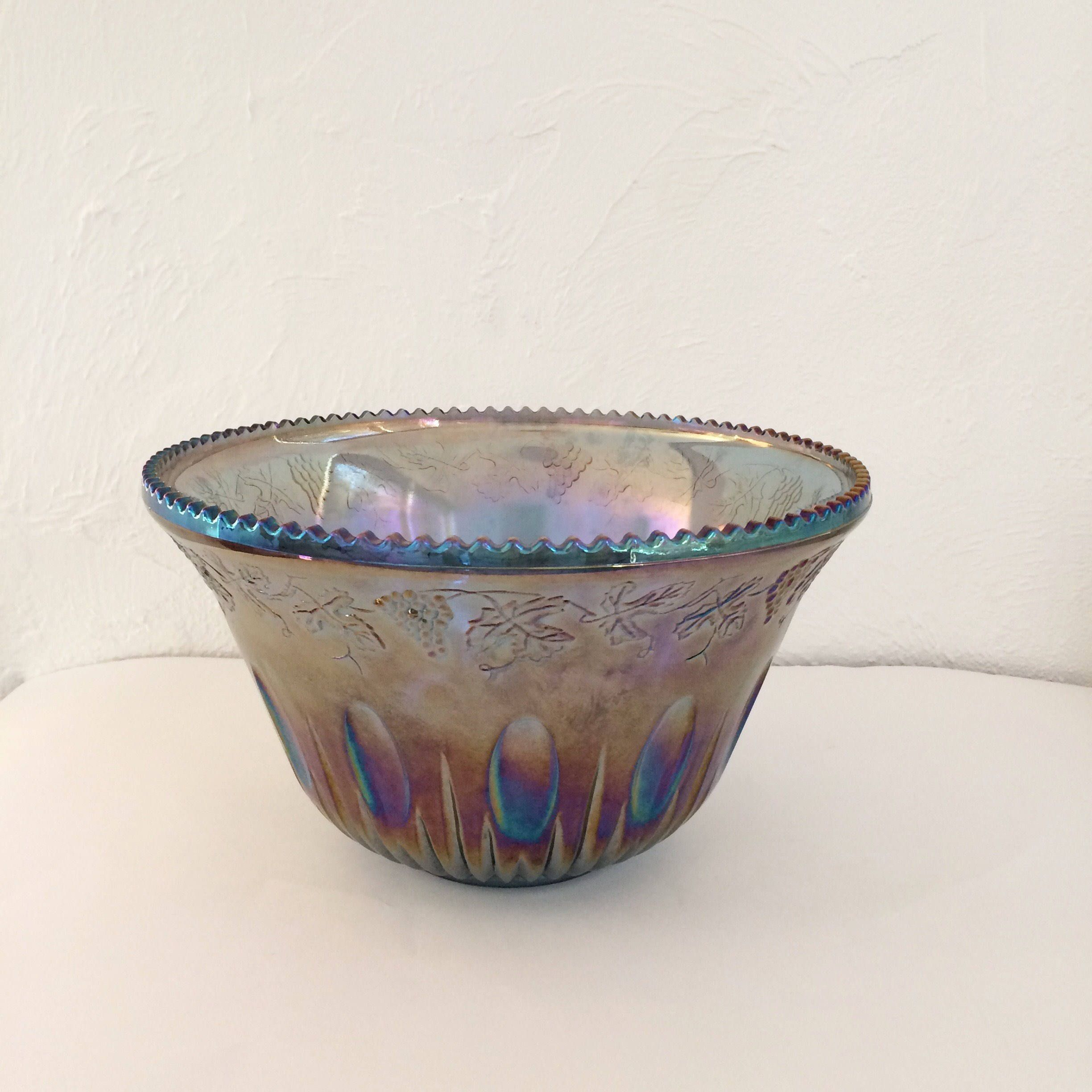 Large Glass Decorative Bowls Large Carnival Glass Punch Bowl Vintage Indiana Glass Purple