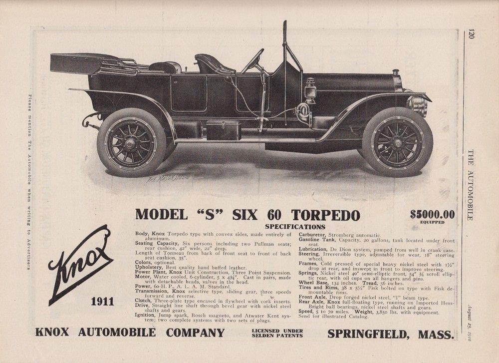1910 Knox Automobile Co Springfield MA Ad: 1911 Model S ...