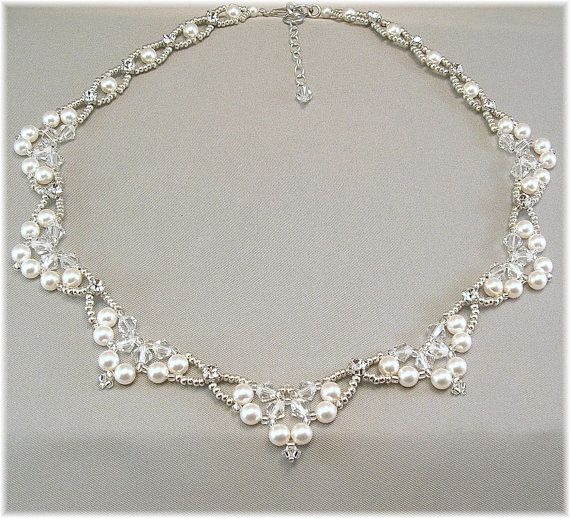 4ee9da6c4b Swarovski Rhinestone Pearl and Crystal Wedding Necklace, Diamante Necklace, Beaded  Bridal Scalloped Necklace