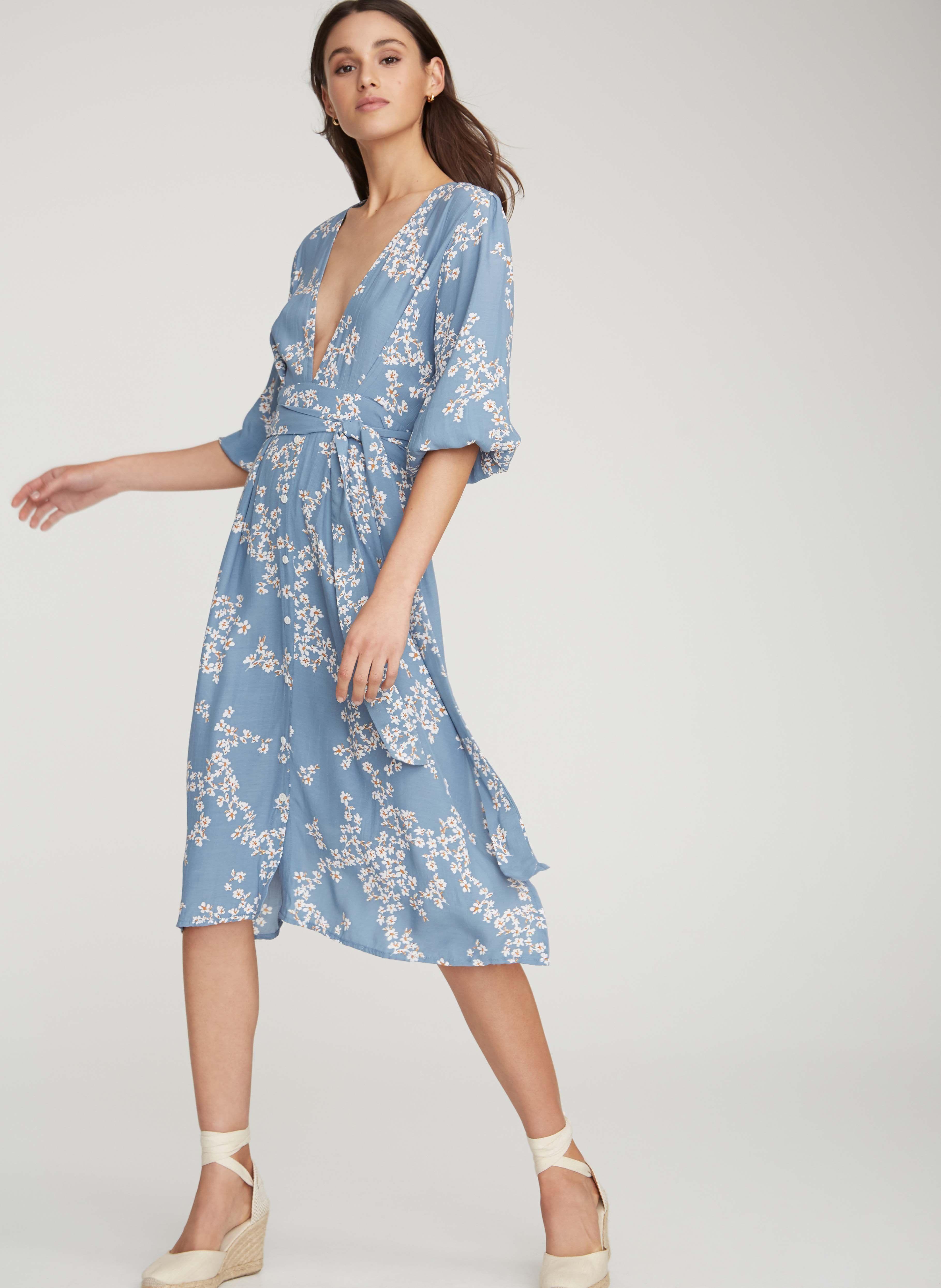 a0b263b61f9 Cap estel floral print - cornflower blue - chloe midi dress