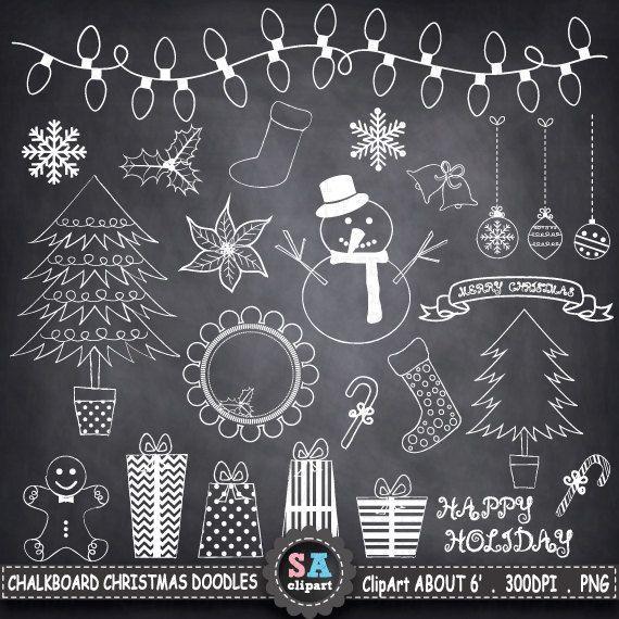 chalkboard christmas doodles clipart christmas doodles hand
