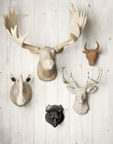 Faux Taxidermy Heads Want To Do This In Our New House On The Vaulted Ceiling Wall But My Husband Thinks I M Nuts He Ll Love It Once S Done Right