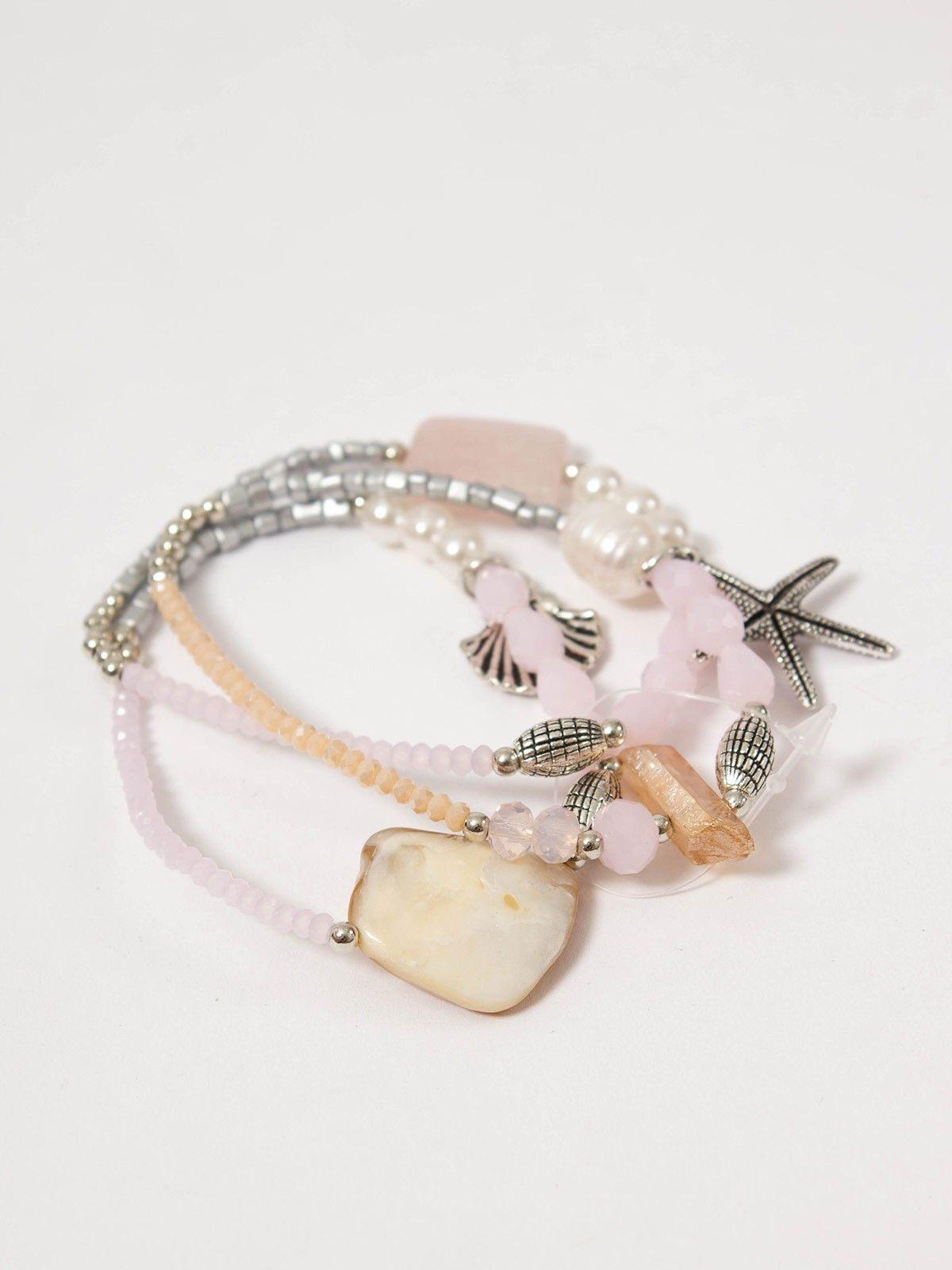 c220f266fbb9 Pulsera Oda Rosa - Conjunto de tres pulseras elástica compuesta por piezas  en color rosa y