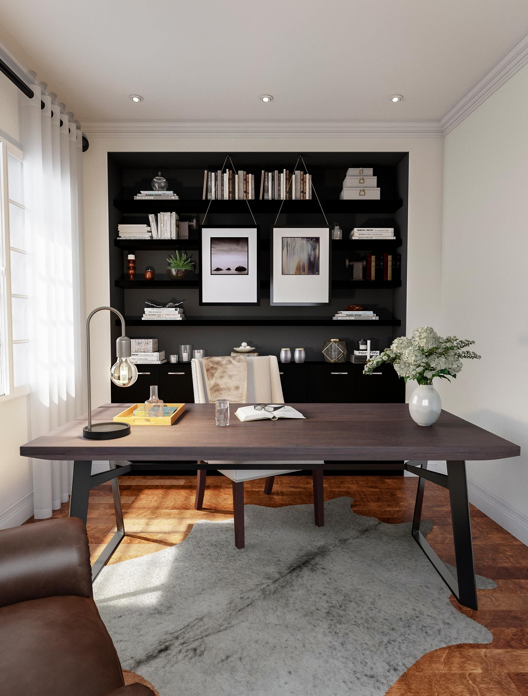 Modern Home Office With Expansive Desk Home Office Decor Home Office Furniture Modern Home Office