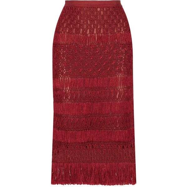 Oscar de la Renta - Fringed Macramé Silk Midi Skirt (1,340 CAD) ❤ liked on Polyvore featuring skirts, claret, oscar de la renta, fringe skirts, red silk skirt, red fringe skirt and silk skirt