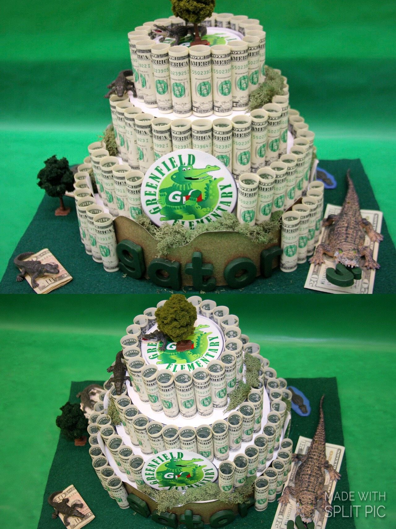 Money Cake for Greenfield Elementary School auction  Theme