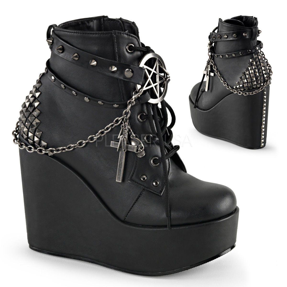 Demonia Stomp Chram Platform Ankle Boot Wedge Shoes 6-11 Burgundy Velvet