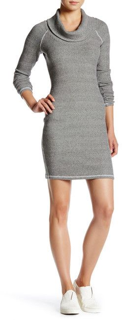 Three Dots Thermal Cowl Neck Bodycon Dress