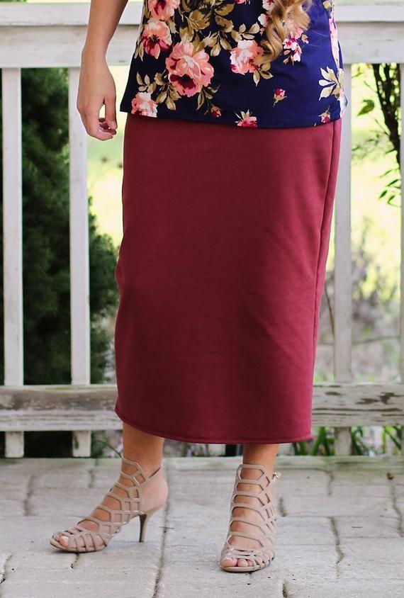 2575e36cebea LillyAnnaLadies Knit Long Pencil Skirt Modest in 2019 | Shoes hair ...
