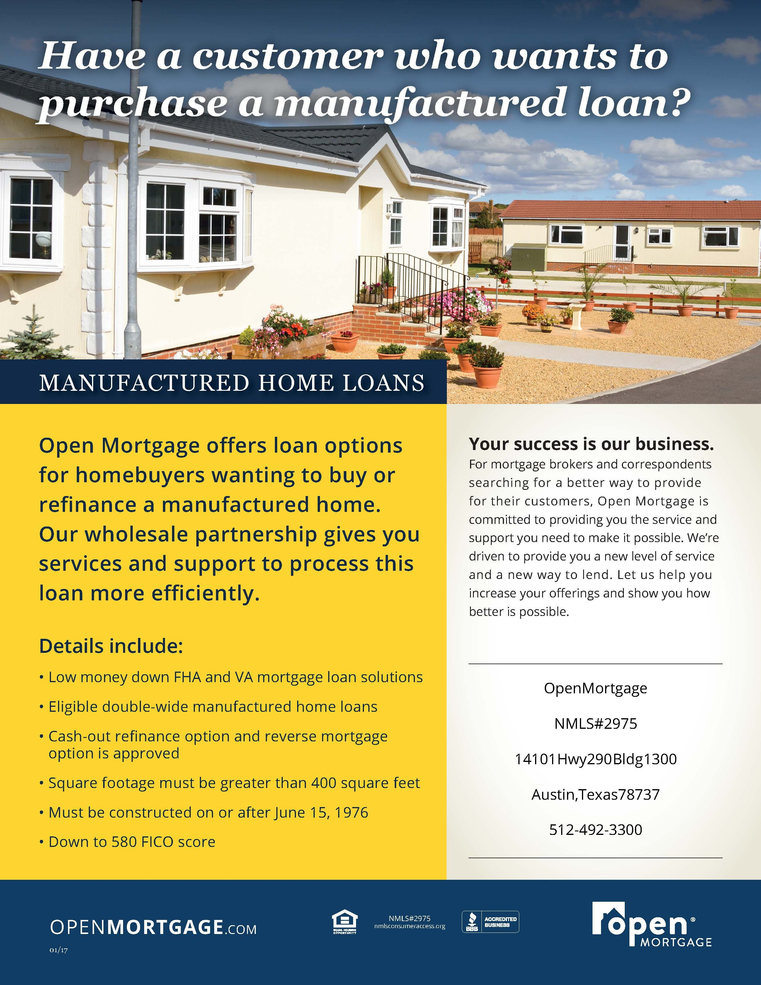 Open Mortgage Provides Wholesale Services Through Programs Such As Manufactured Home Loans To Process The Loa Debt Relief Programs Home Loans Mortgage Brokers