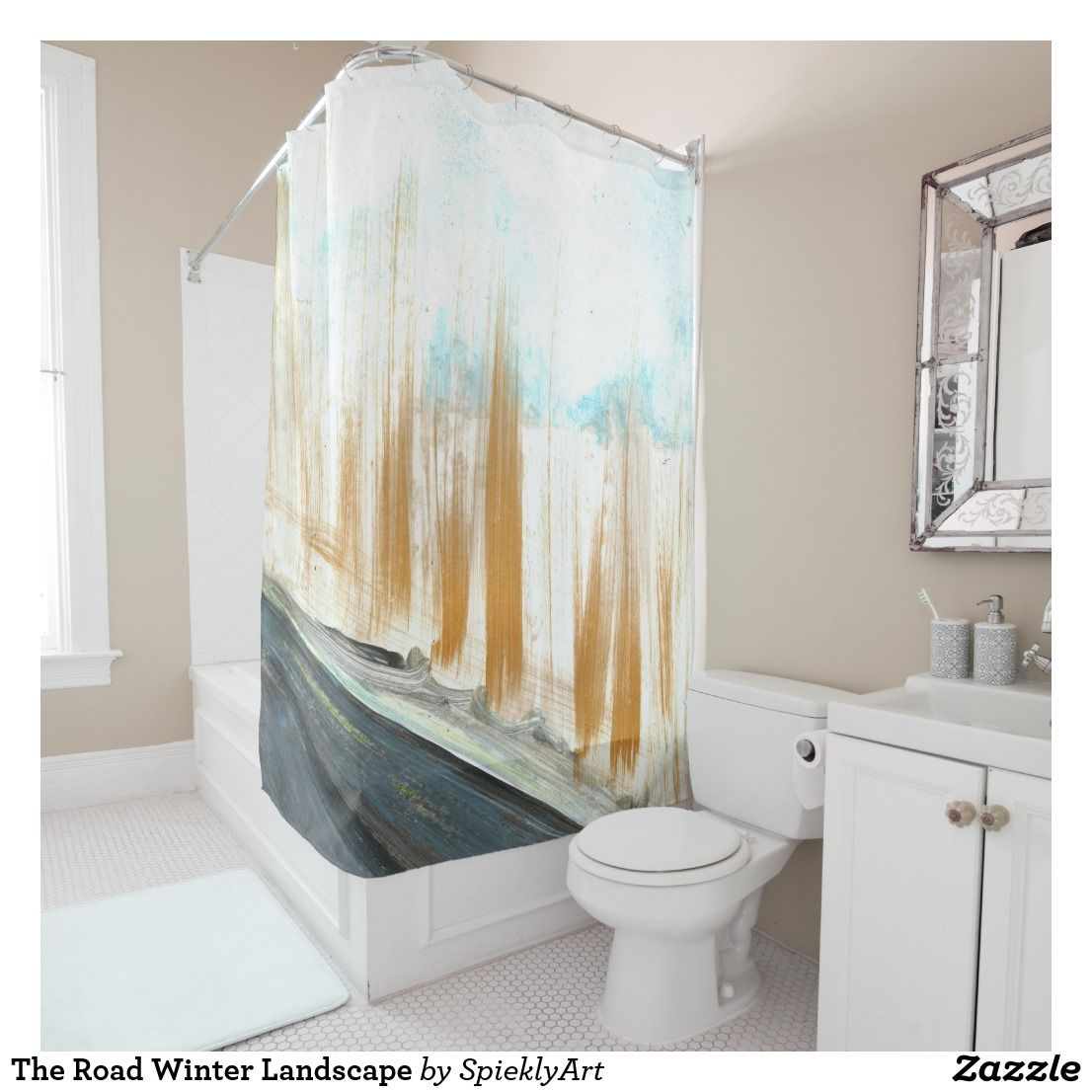 The Road Winter Landscape Shower Curtain Zazzle Com Shower