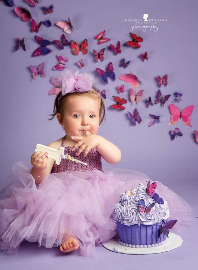 Purple First Birthday Giant Cupcake Butterfly Theme Miss A