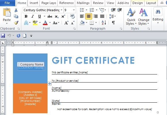 How To Create A Gift Certificate In Word Free Word Template For Making Printable Gift Certificates  Word .