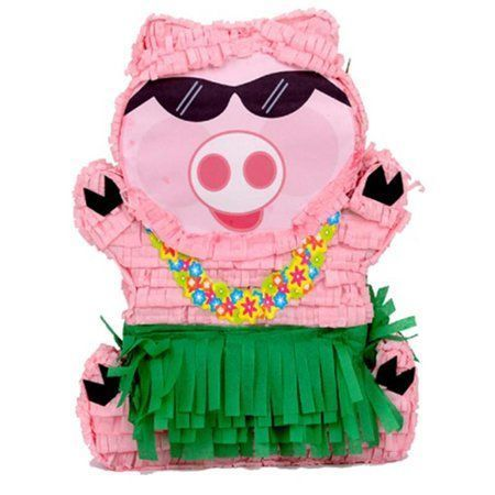 Photo of Hawaiian Luau Pig Pinata, Pink & Green, 14in x 19.5in – Walmart.com –   – #14in …