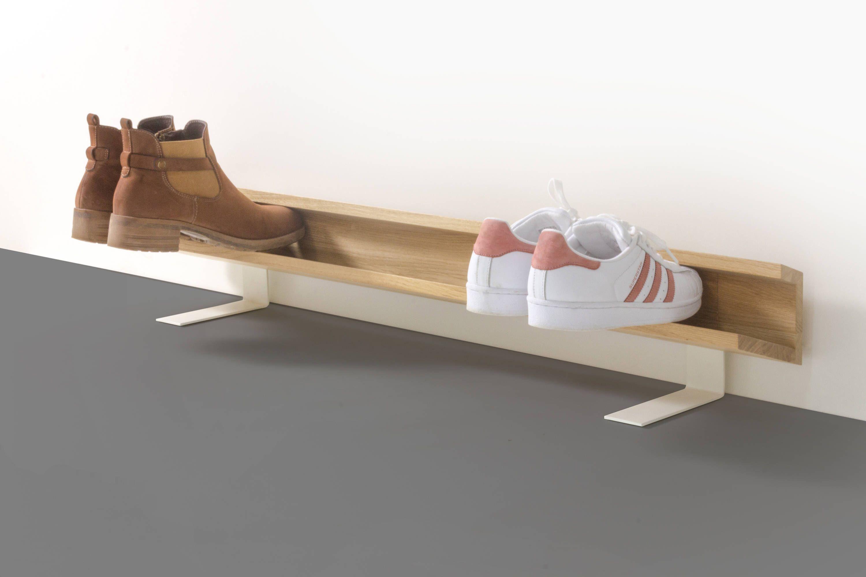 Laufender meter design schuhregal aus holz f r wand - Modernes schuhregal ...