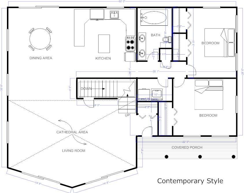 Contemporary Floor Plan Floor Plans Pinterest House plans - new interior blueprint maker