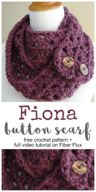 Fiona Button Scarf, Free Crochet Pattern + Video